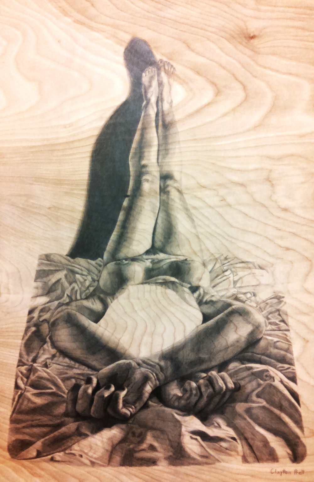 Figure Drawing II  Foreshortening Assignment  Graphite on Wood 2015