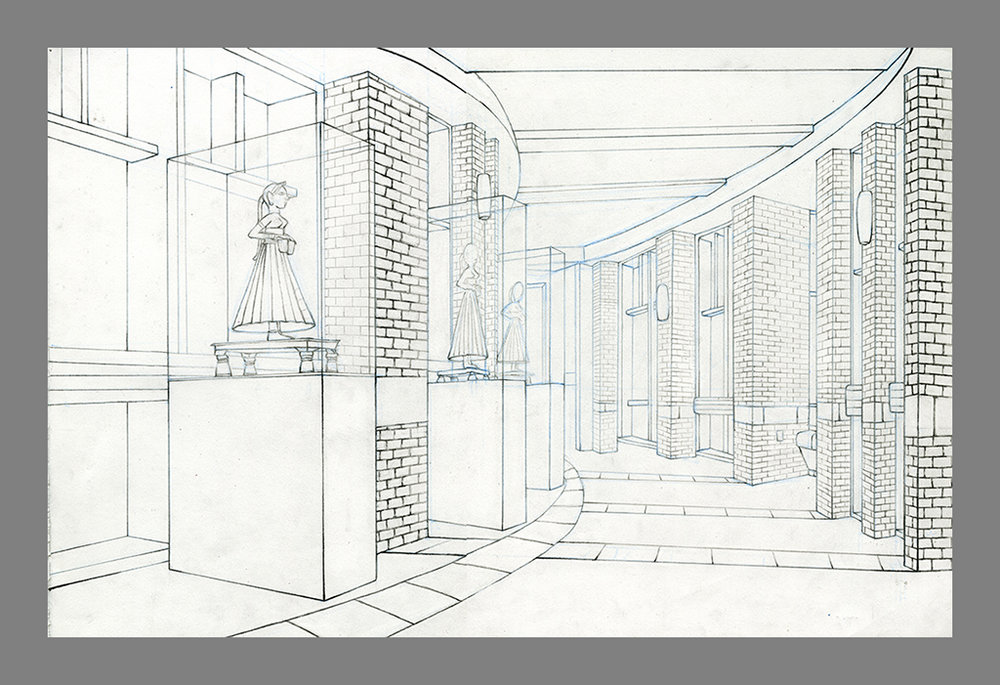 Drawing I  Direct Observational Two-Point Perspective  Graphite and Blue Drafting Pencil  2016