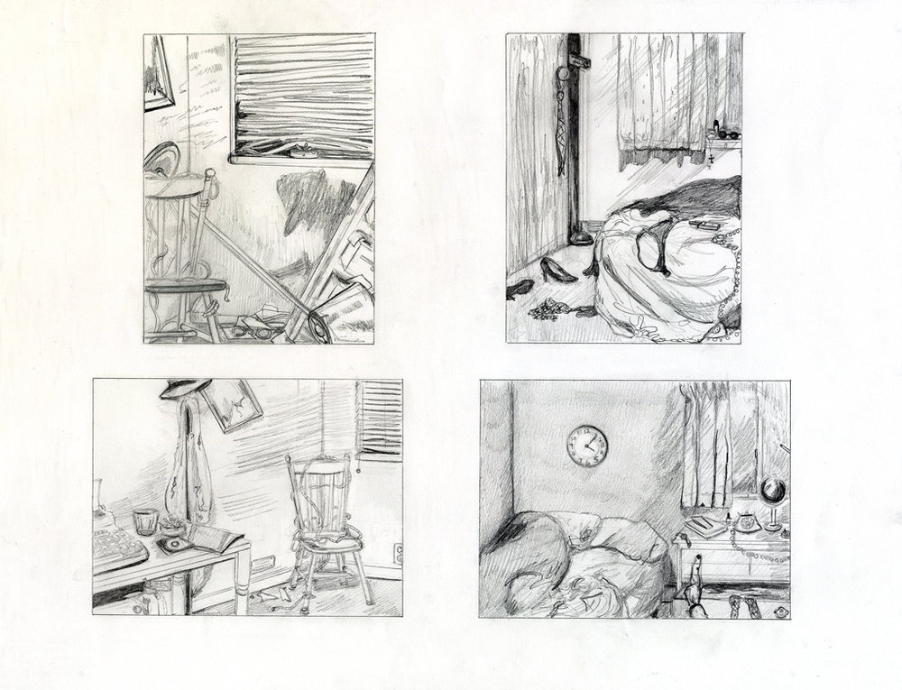 Drawing II  Student Compositional Thumbnails  Graphite  2014
