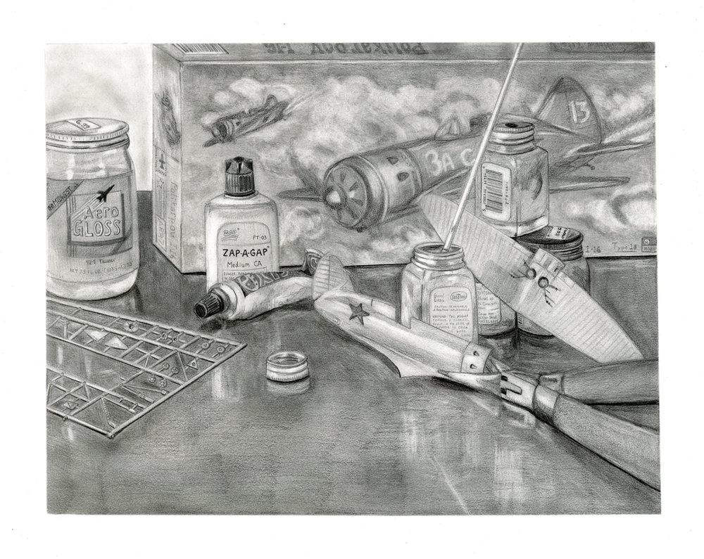 Direct Observational Still Life Depicting a Process at Home  Graphite  2014