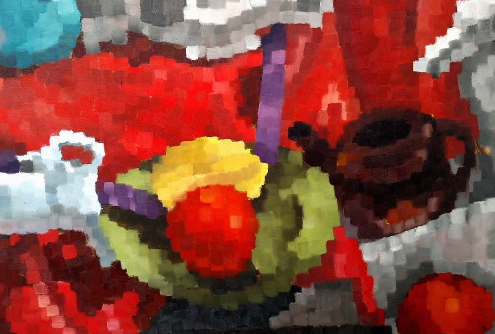 Introduction to Painting  Direct Observational Still Life  Emphasis on Color, Value, Saturation using 1/2inch mark  Oil Paint on Gessoed Paper 2018