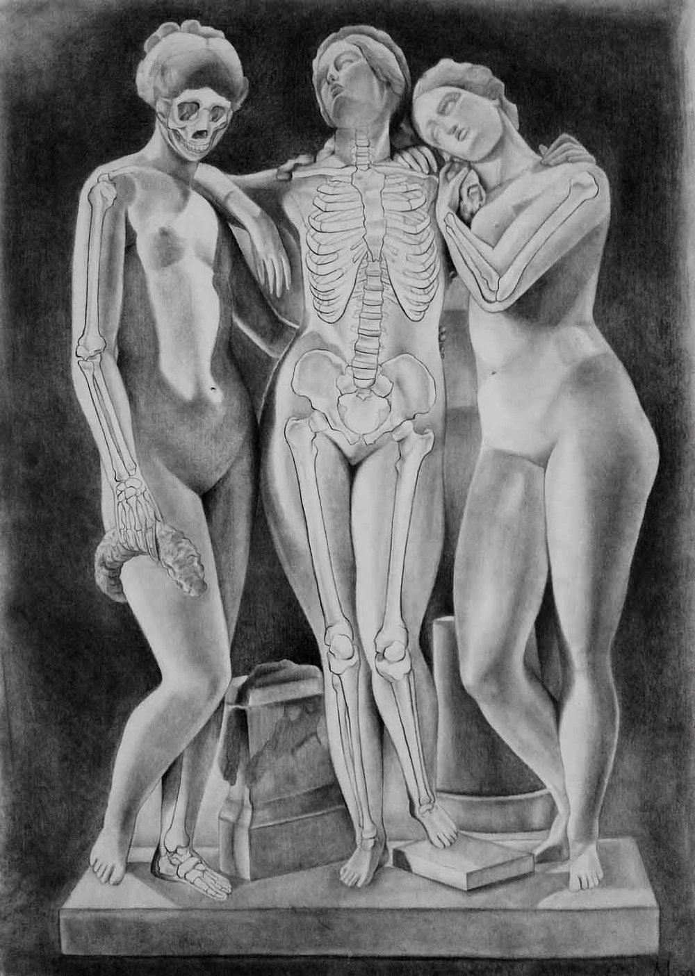 Life Drawing  Skeletal Insertion of a Master Copy (The Three Graces, Jean-Jacques Pradier, 1831)  Graphite 2017