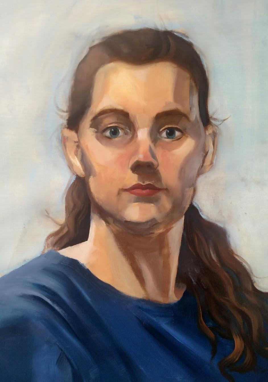 Introduction to Painting  Direct Observational Self-Portrait  Oil Paint on Gessoed Paper  2018