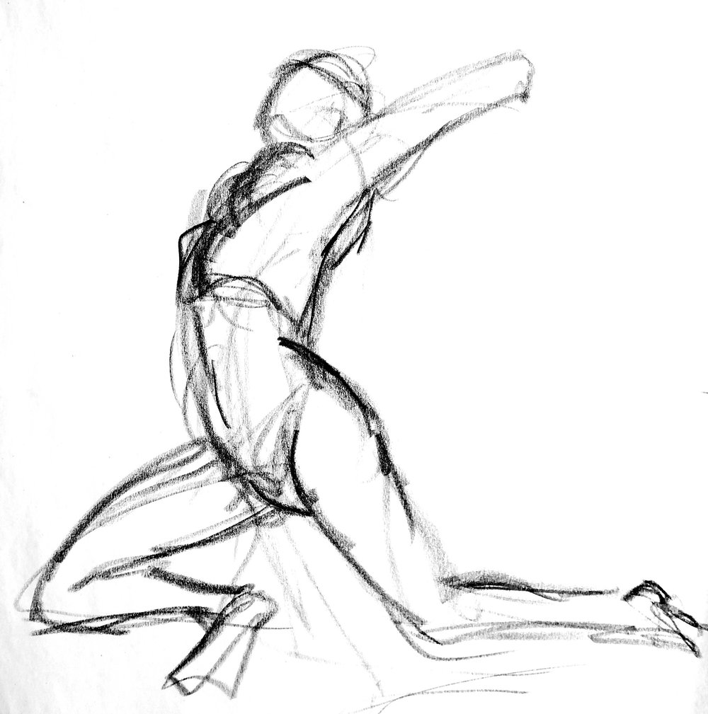 Life Drawing  1 minute Gesture Drawing   Charcoal  2016