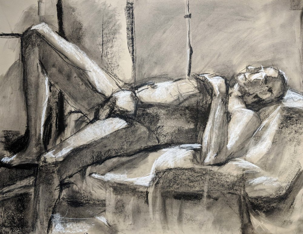 Life Drawing  Planar Construction, full value and suggestion of environment  Charcoal 2018