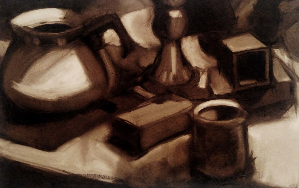 Introduction to Painting  Direct Observational Still Life  Subtractive; Emphasis on value  2018