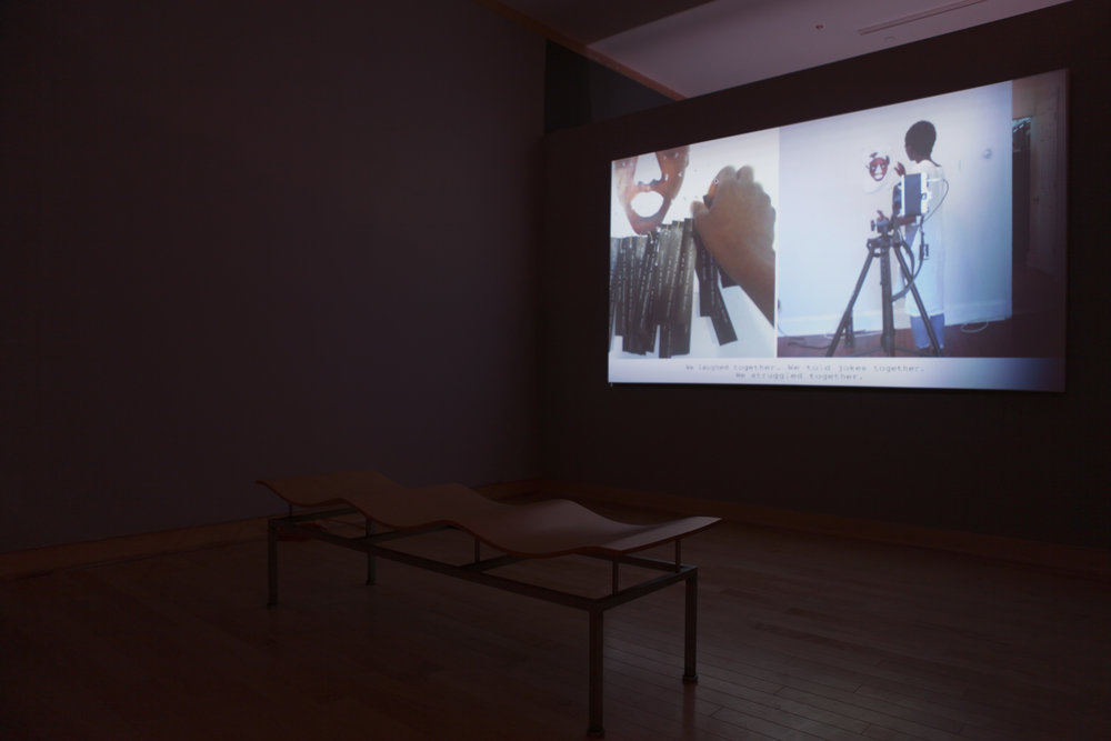 Pulling At My Labels. Single Channel Video. Installation view at Washington College, 2017