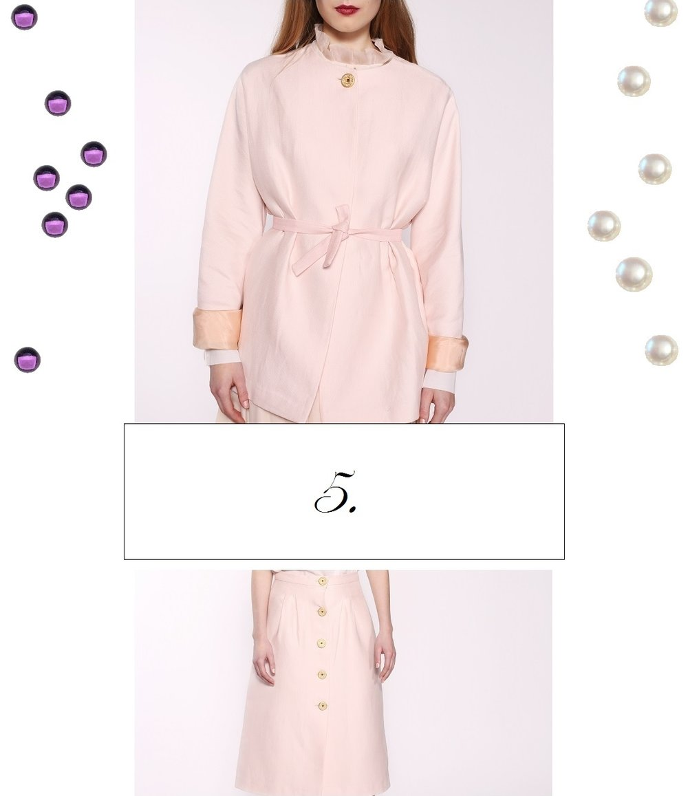 Reassert your love of luxury with these two pale pink pieces, delivered in beautifully crafted wool fabric, which we pulled from one of the high-end mills in France. Incredible quality of the wool and softest pale-pink silk lining are not the FALL-IN-LOVE points, the fall-in-love point is the buttons, which were crafted in our very own Atelier and encrusted with SEMI-PRECIOUS STONES like amethysts and pearls. Perfect example of quiet aristocratic luxury, which doesn't scream, yet elevates the look.