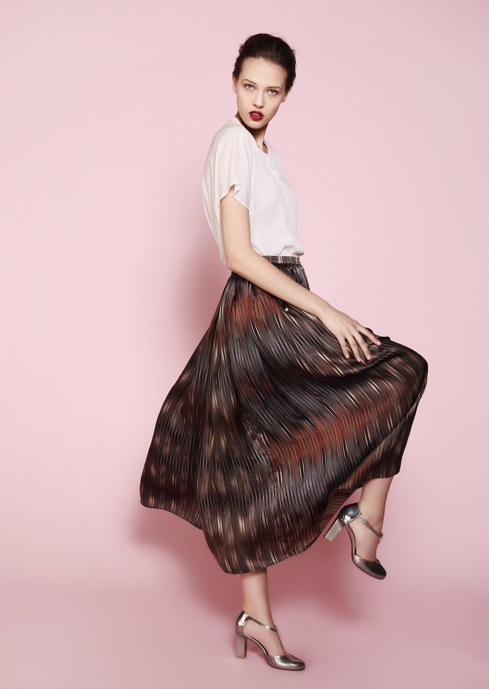 1. The Midi Skirt  - Look no further. This Valentina midi length skirt is made of the softest silk we could possibly find. The length is perfect to go with anything, from kitty heel to block-heeled ankle boot. The warm shades of chocolate, coffee and latte are so easy to mix with the color palette of the new season. We would try it with burgundy, forest green and ivory. This piece will help you to transition from summer to fall in the most versatile way. #lovemeforever #softpower #versatility
