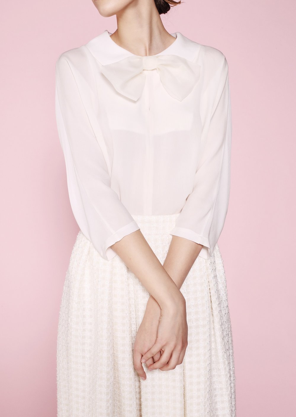 2. The Bow Blouse - The Eden blouse features darts on the back of the sleeves, the bib can be opened and organza bow can be worn only on one side if you want to achieve more relaxed look.Delicate, lightweight and classic, this silk blouse is a must in the new season. Wear it with pant suit to office. Or elevate your jeans look and take it to ladylike height with this organza bow.#chic #sophistication