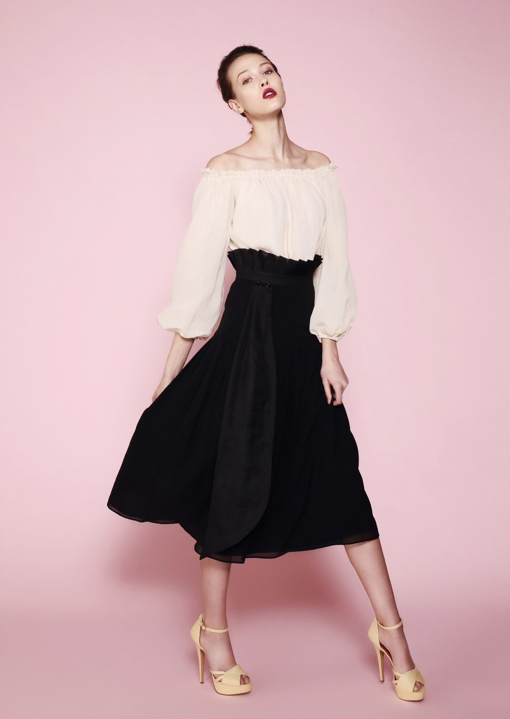 3. Romance - In this look we mixed sumptuous fabrics with romance and ethereal feeling of freedom, of femininity and most importantly of love. The pale silk chiffon blouse features open back and pure silk lining. The full sleeves add romance to the whole look. Worn under a jacket, it can be you go-to item for the office look.The black high-waisted silk georgette skirt features organza pleats that go all the way up and detachable organza train in front. This ensemble will be perfect for these romantic garden parties in September and October, when days are still warm and nights are still long. #nightislong #romance