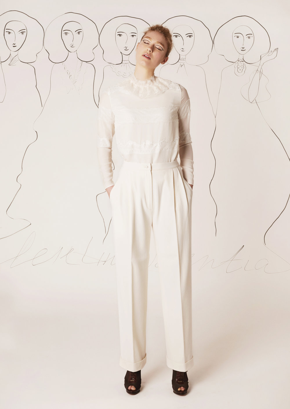 Silk chiffon top and wool crepe trousers