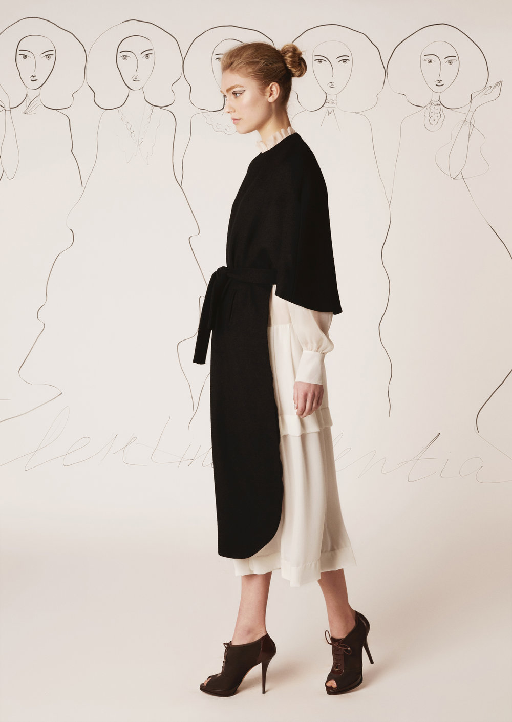 Silk chiffon dress and tweed cape