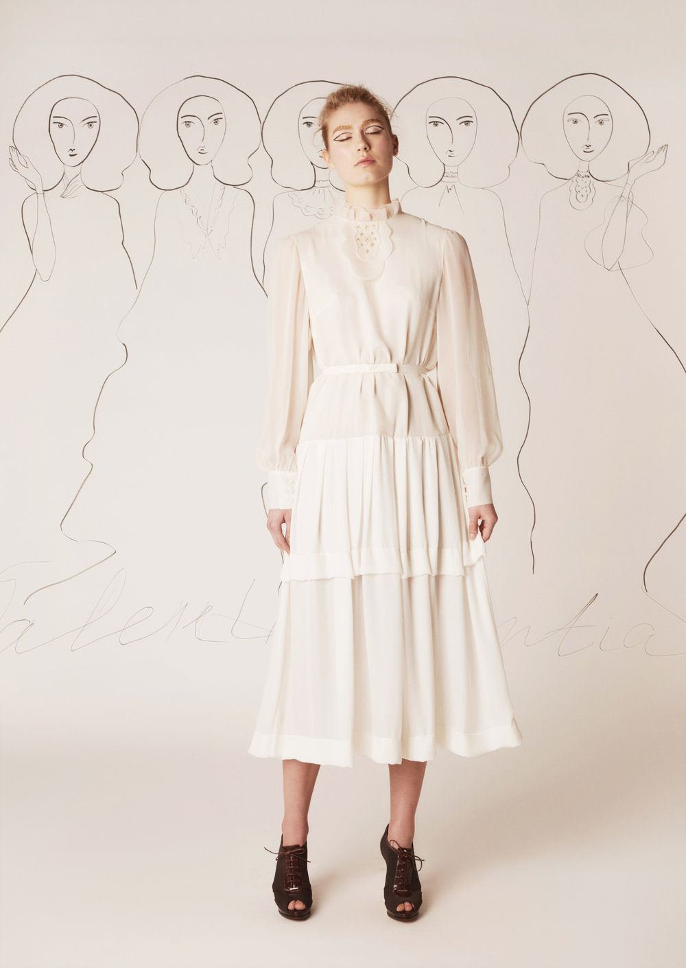 Silk chiffon dress with tiered and embroidered cream jabot
