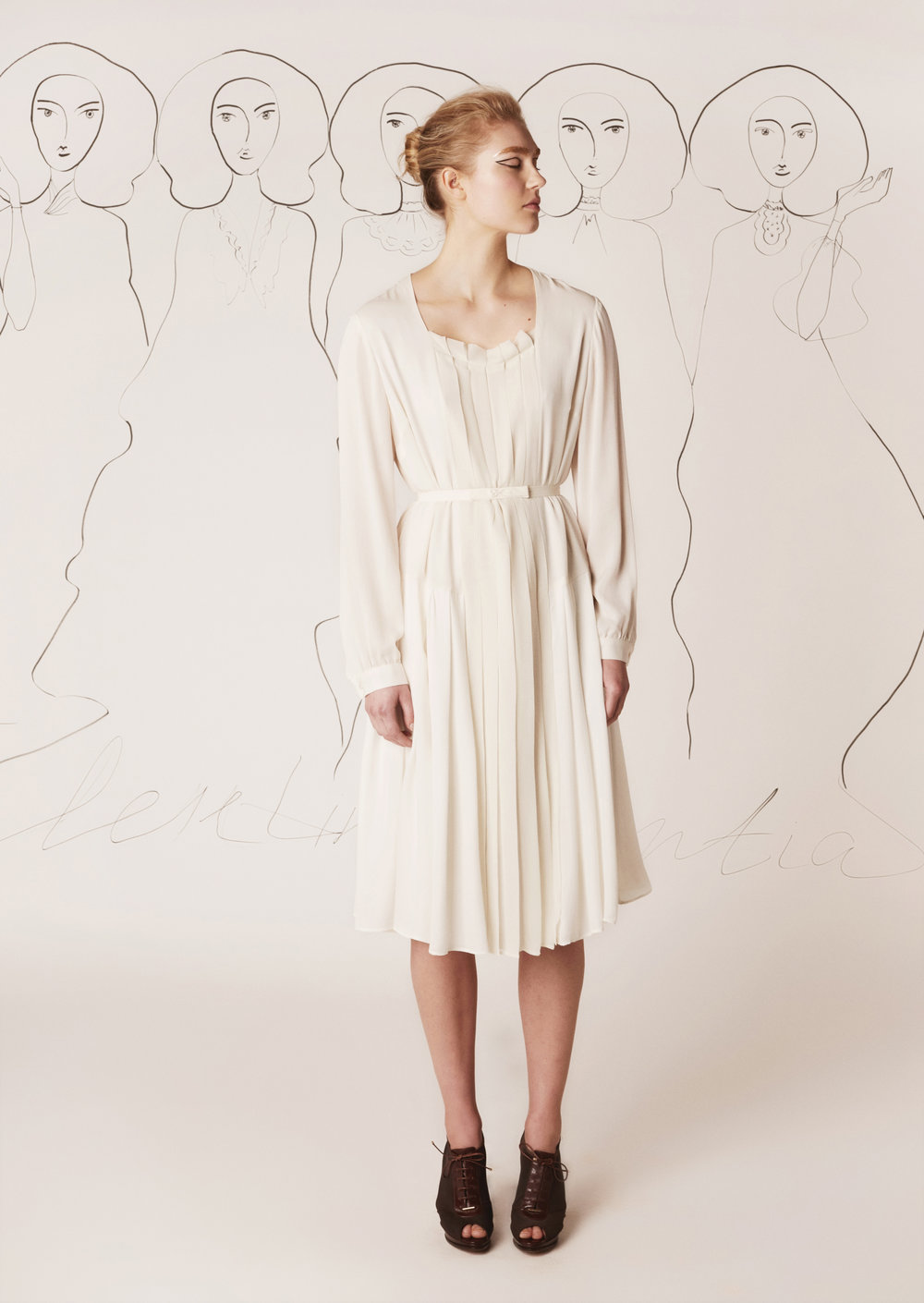 Silk dress with pleated silk chiffon insert