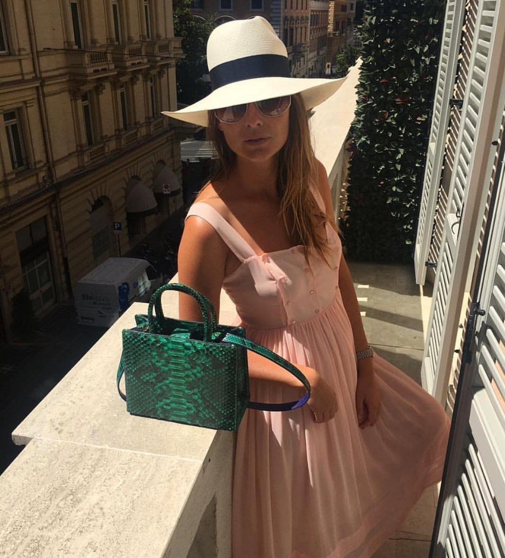 Darya Veledeeva, Editor in Chief of Harper's Bazaar Russia, spending time in Rome, Italy wearing Valentina & Valentia. As seen on Darya's Instagram page.