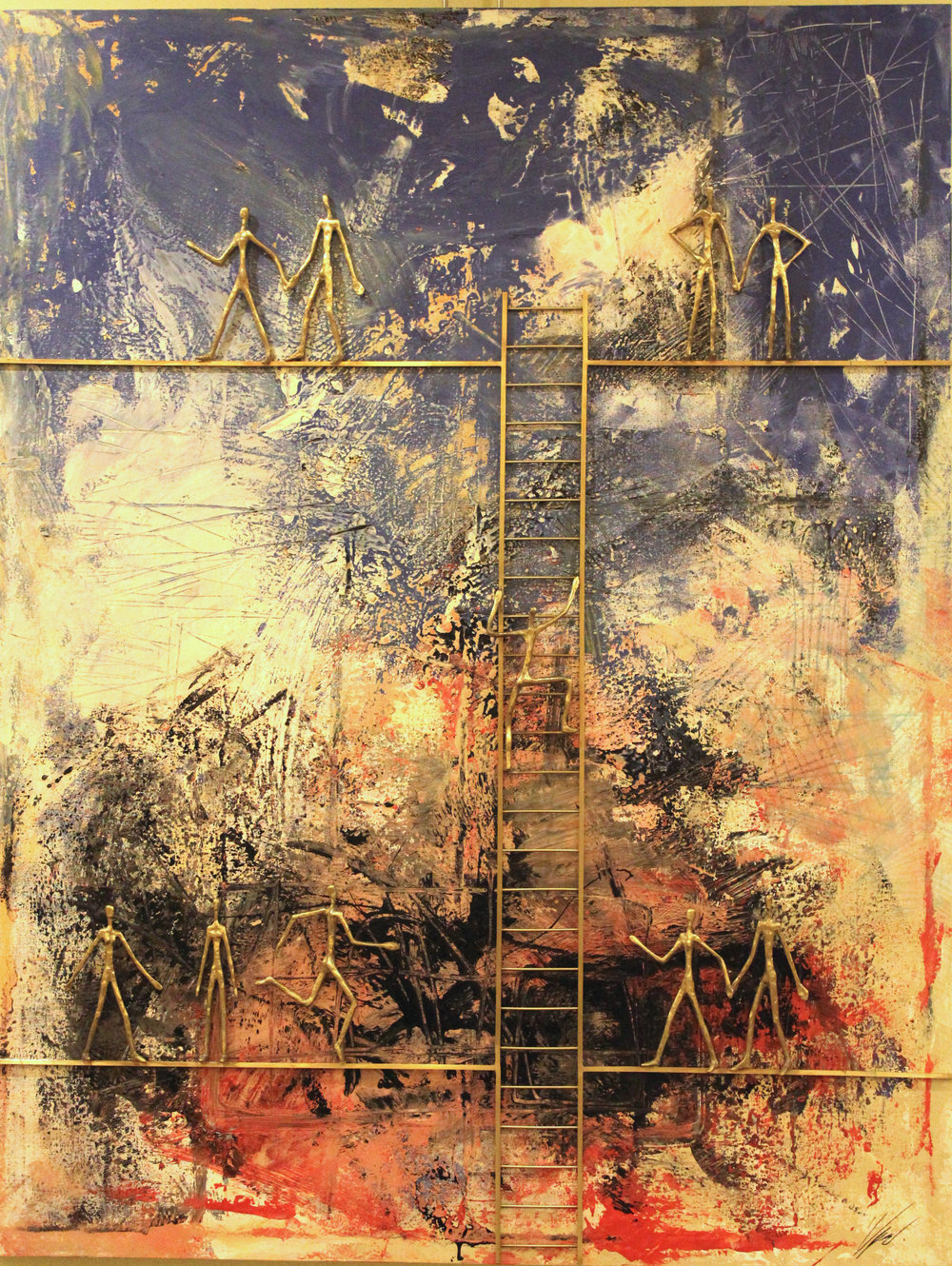 Changing levels 14  mix media on canvas size: 70 x 120 Unique