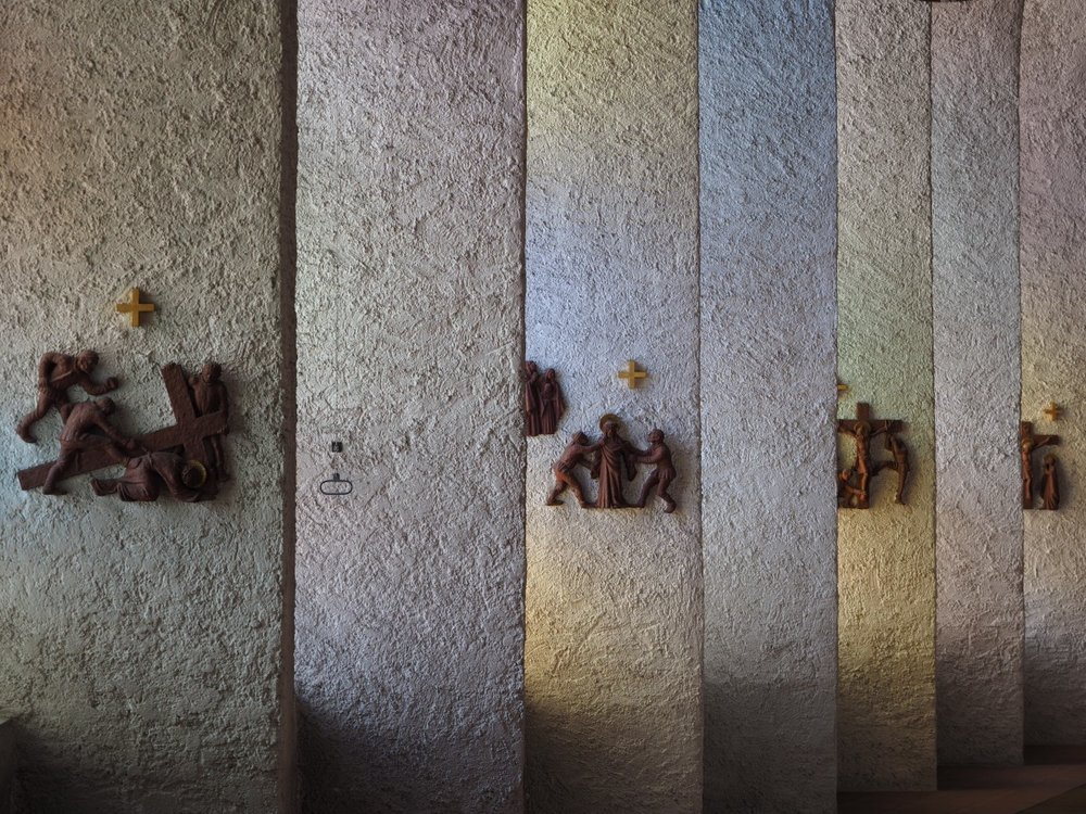 Stations of the Cross on pillars