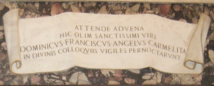 The plaque over St.Dominic's cell in Basilica Santa Sabina