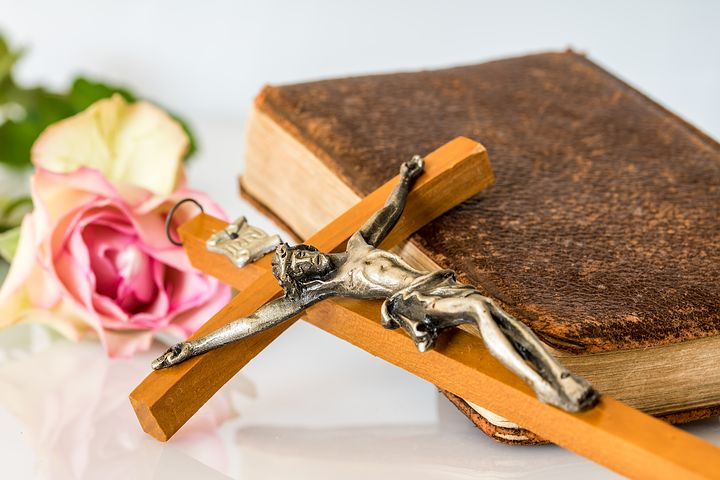 Flower, Crucifix, and Bible