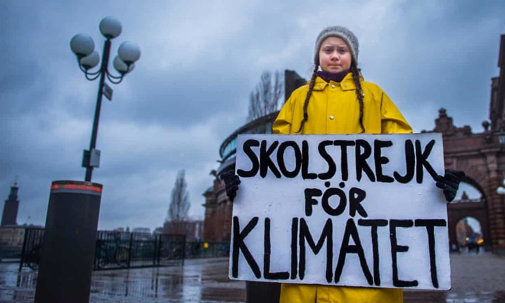 Greta Thunberg, 15, holds a placard reading 'School strike for the climate', during a protest outside the Swedish parliament in Stockholm last November. Photograph: Hanna Franzen/EPA