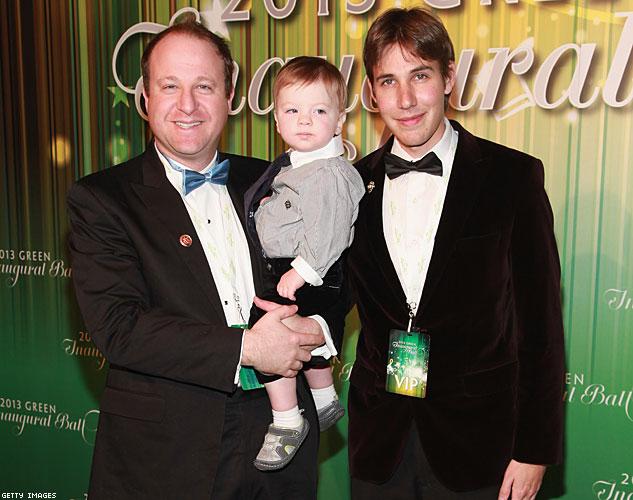 Colorado Governor-elect Jared Polis, son Caspian Polis Reis and husband Marlon Reis. Photo: via Advocate