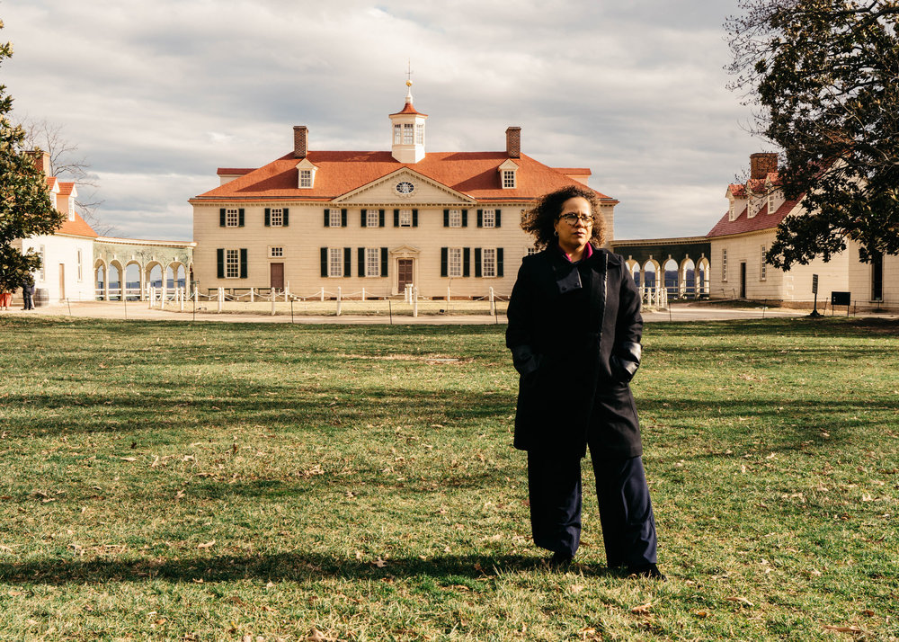 "Erica Armstrong Dunbar, the author of ""Never Caught: The Washingtons' Relentless Pursuit of Their Runaway Slave, Ona Judge,"" at George Washington's estate in Mount Vernon, Va. Justin T. Gellerson for The New York Times"