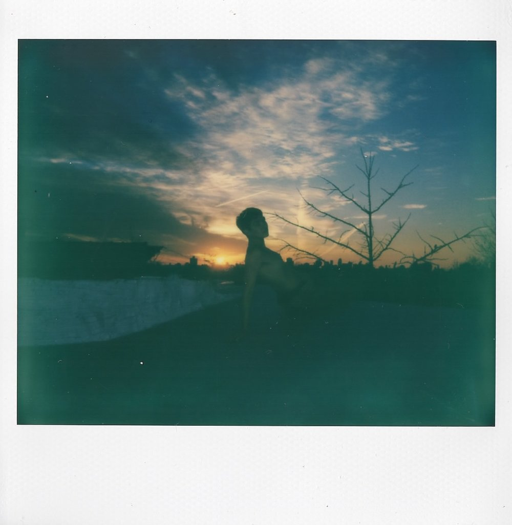 Elena Dowling on her roof in Queens, NY - December 2016 - Polaroid Spectra