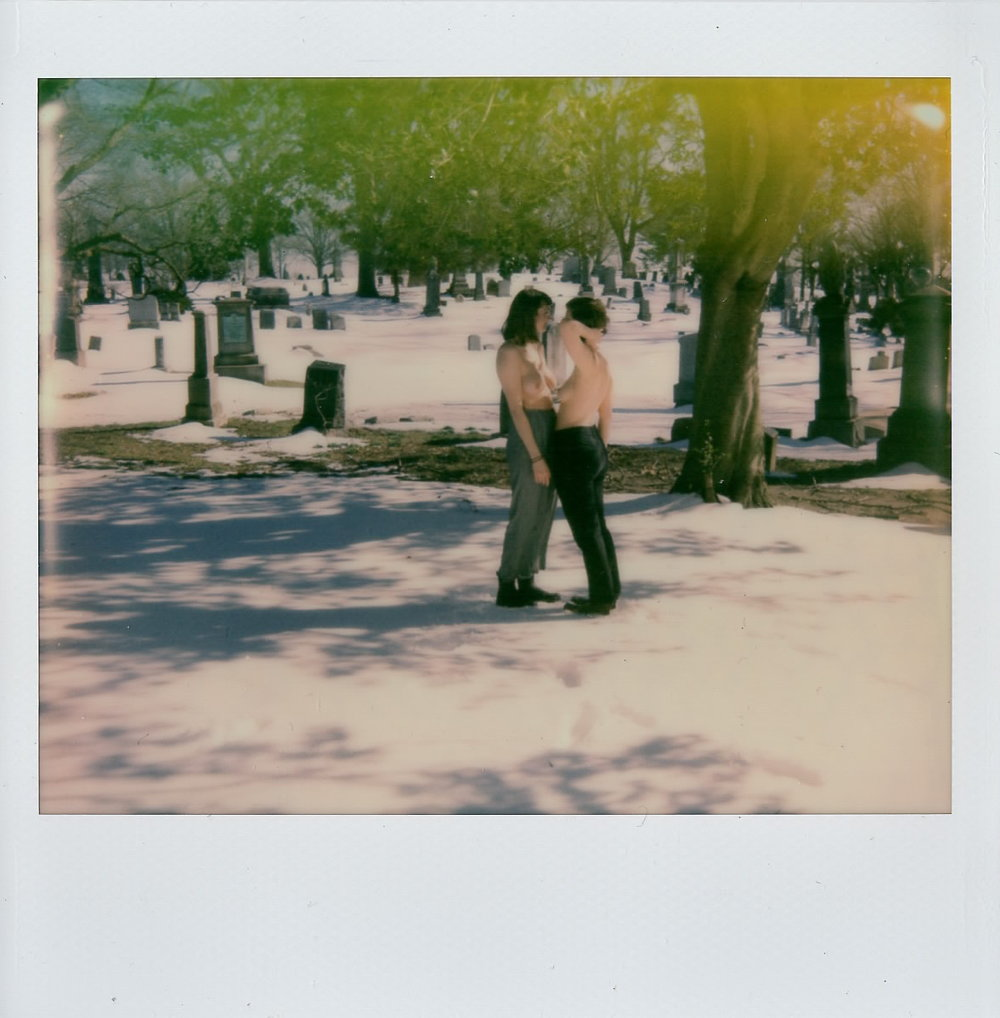 Olivia and my sister in the graveyard, NY -- March 2017 -- Polaroid Spectra using Impossible Project Film
