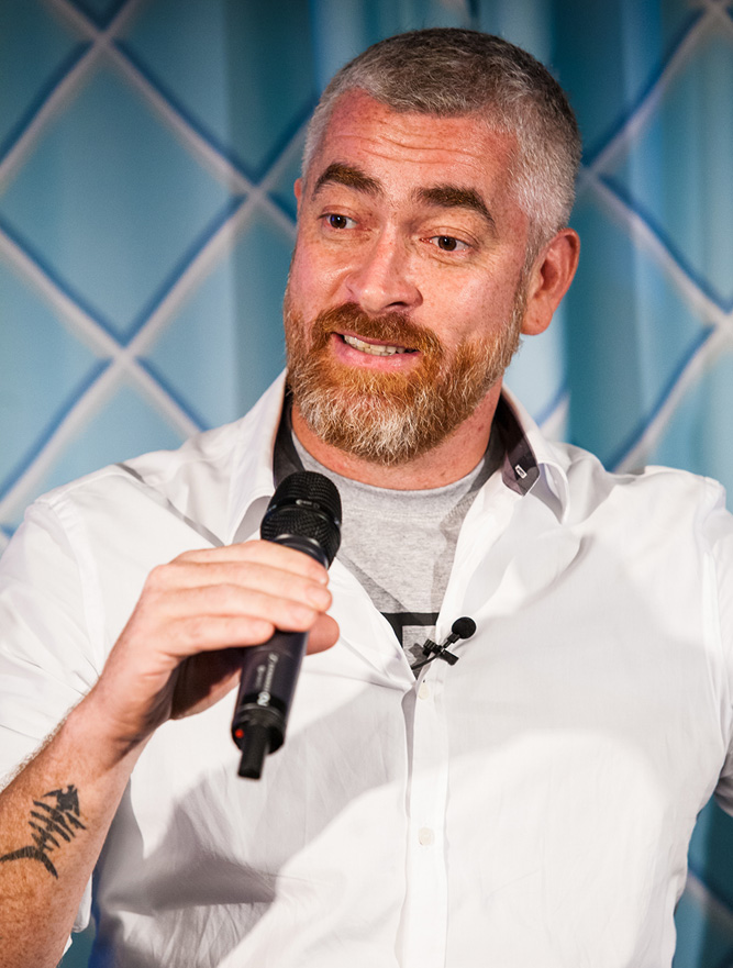 Chef Alex Atala speaking at the event