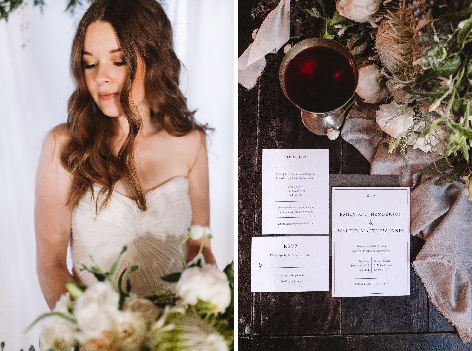 Wedding Suite and Invitations  Greylein Design    Hair  Ellie Botts    Photography  Sanford Creative