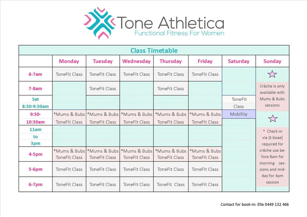 Please note: Check-in via {tboae} required for creche use: before 8am for morning sessions and before midday for 4pm sessions - or call Elle 0449 132 466 Mums&Bubs simply indicates that the creche is available and is the same session as our Functional ToneFit Class