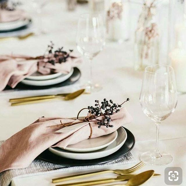 Dried berries, blush linen and gold cutlery 💕 simple but so romantic! . . . . 📷 via @pinterest  #hitched #bridetobe #weddedwonderland #futuremrs #gettinghitched #tyingtheknot #weddings #weddingplanner  #engagement #weddingideas #weddingplanning #eventplanning #weddinginspiration