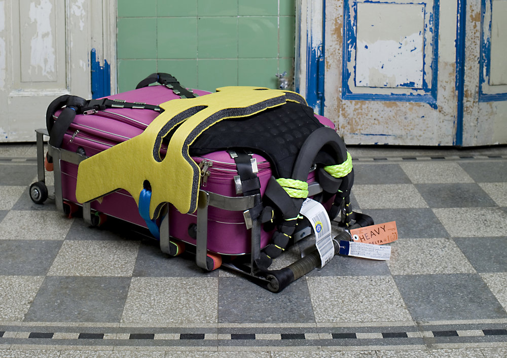 Untitled 2009, Trolley, mixed media, 90 x 63 x 37 cm  - installation view at Lucie Fontaine, Milan photo: Alessandra Sofia