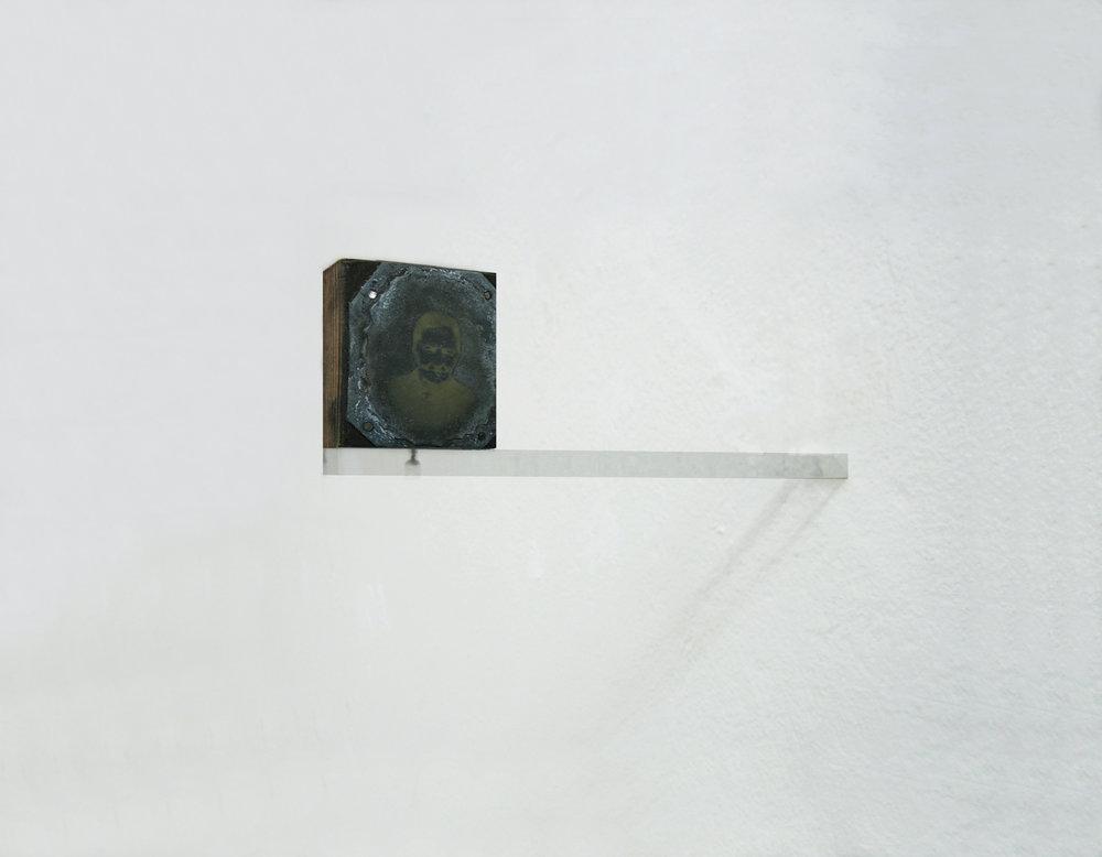 Esercizio di socializzazione (n2), 2014 - typographic cliché , plexiglass, 5,5 x 2 x 18 cm - view of project at MARS, Milan