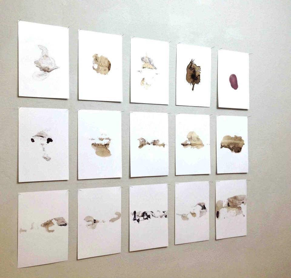 Senza fissa dimora I, 2014 - mixed media on photographic paper, 29 x 21 cm each - view of the project at The Workbench, Milan