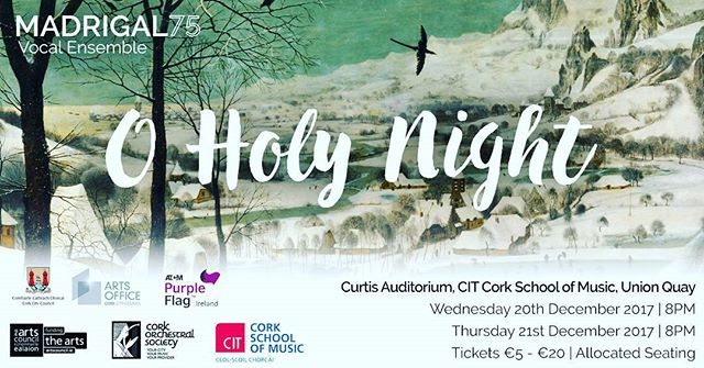 TICKETS ARE NOW ON SALE! They're selling fast so be sure to get yours by clicking the link in our bio! 🎶🎄🎁 . . . . . #madrigal75 #choral #christmas #cork #csm #singing #tenor #choir #oholynight #bestnightoftheyear #solosinging #choralmusic #christmasmusic