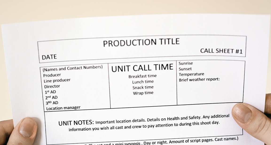 What Is A Call Sheet Plus Template Download Amy Clarke Films