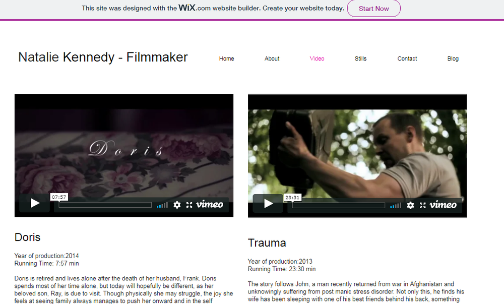 Filmmaker Portfolio Example - Made on Wix