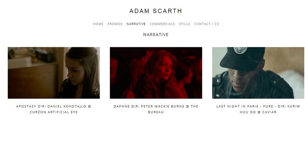 Filmmaker portfolio example - made on Squarespace