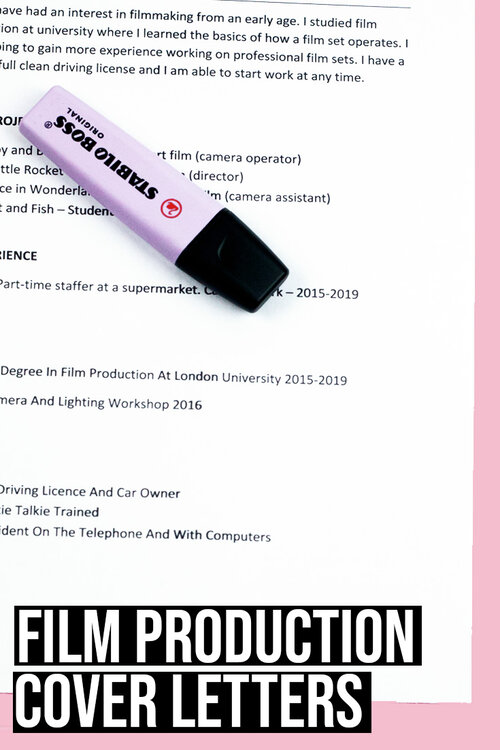 How to Write a Film Production Cover Letter Free Examples