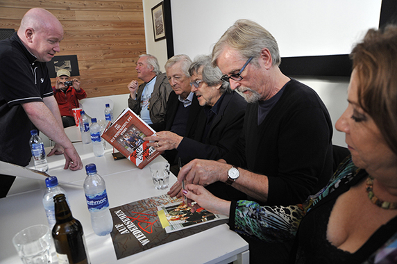 The four, with Melanie Smith (foreground) kindly provided an opportunity afterwards to sign fans' memorabilia.