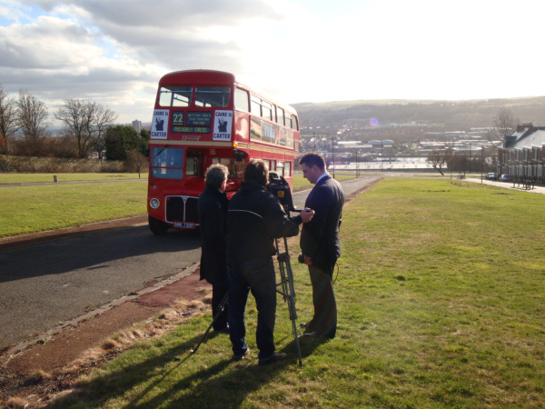 The BBC  Look North  crew with Damian O'Neil during filming of their  Get Carter  article on the site of the slum housing featured in the movie.