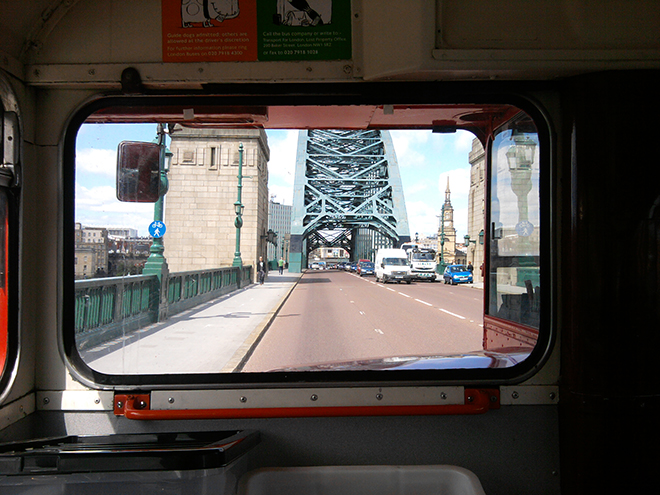 Downstairs front-seat-passenger's-eye-view of the Tyne Bridge.