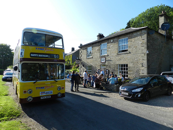 We arranged a private party/tour last August to celebrate the 60th birthday of our close friend Bertie Forster; a joyous, surprise sunny day crawl around some fabulous Northumberland pubs including The Ox at Middleton (Wilson's local).