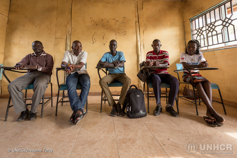 Refugee students in classroom at university in Kakuma camp