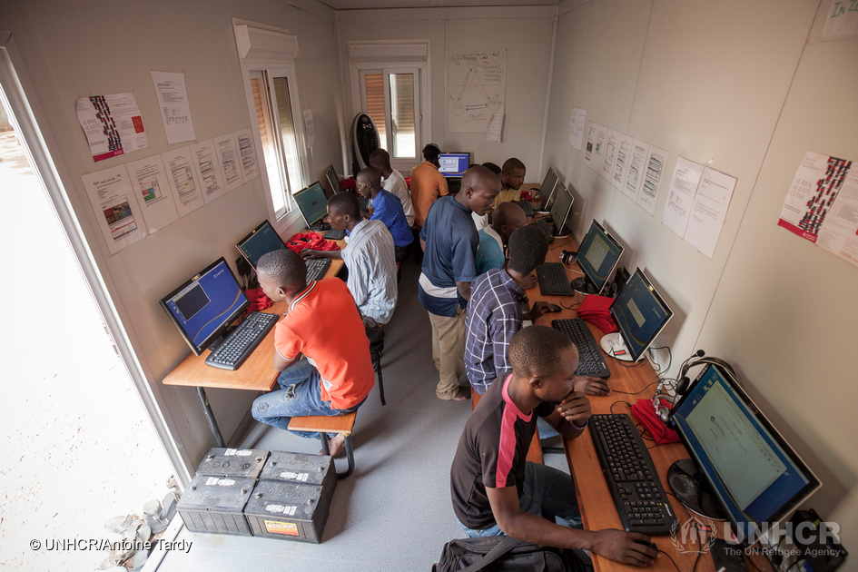 Kenya. Studying at InZone's MOOC Learning Center in Kakuma