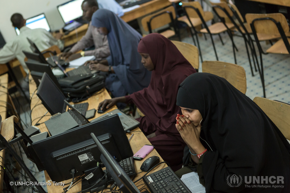 Refugee students at Borderless Higher Education for Refugees (BHER) learning center in Dadaab