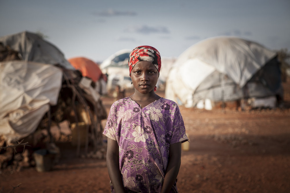 Amina, 13, in Heleweyn camp, Ethiopia.