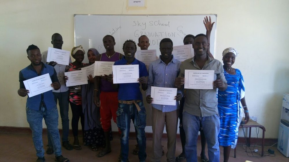 The graduates of the Sky School pilot course in Kakuma Camp (Kenya), in December 2017.